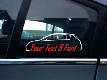 2x Custom YOUR TEXT car sticker - for  Nissan Versa / Tiida hatch C11; 2008-2012